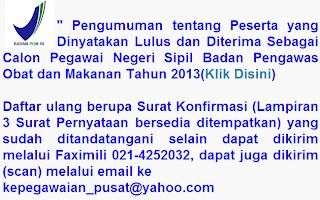Pengumuman Kelulusan CPNS BPOM 2013