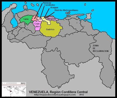 Región Cordillera Central, Mapa de las Regiones politico-administrativas de VENEZUELA