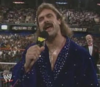 WWF / WWE WRESTLEMANIA 4: 'Ravishing' Rick Rude gets ready for battle against Jake 'The Snake' Roberts