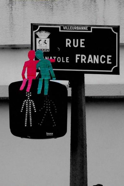 Fransk fodgængerovergang, rød og grøn