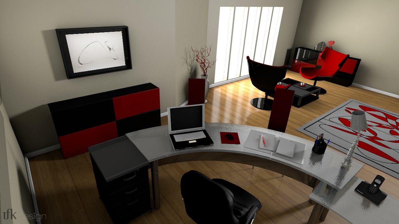 ifk design graphic designer mod lisation 3d d un bureau pour un particulier ao t 2012. Black Bedroom Furniture Sets. Home Design Ideas