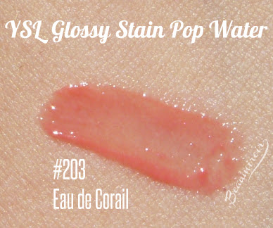 YSL Glossy Stain Pop Water in Eau de Corail #203 swatch
