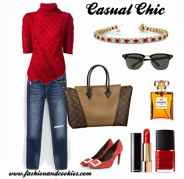 Casual chic look, Fashion and Cookies, fashion blogger, anjolee diamond and rubies bracelet