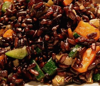 bimby, insalata di riso venere con verdure e gamberi