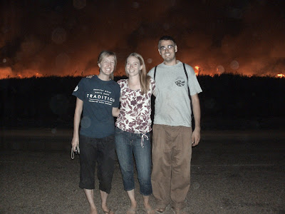 Here's a picture of Anne, Tana, and I at the last sugarcane burning