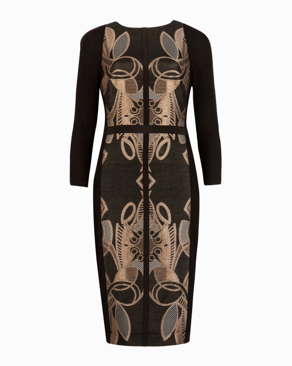 ted baker gold print dress