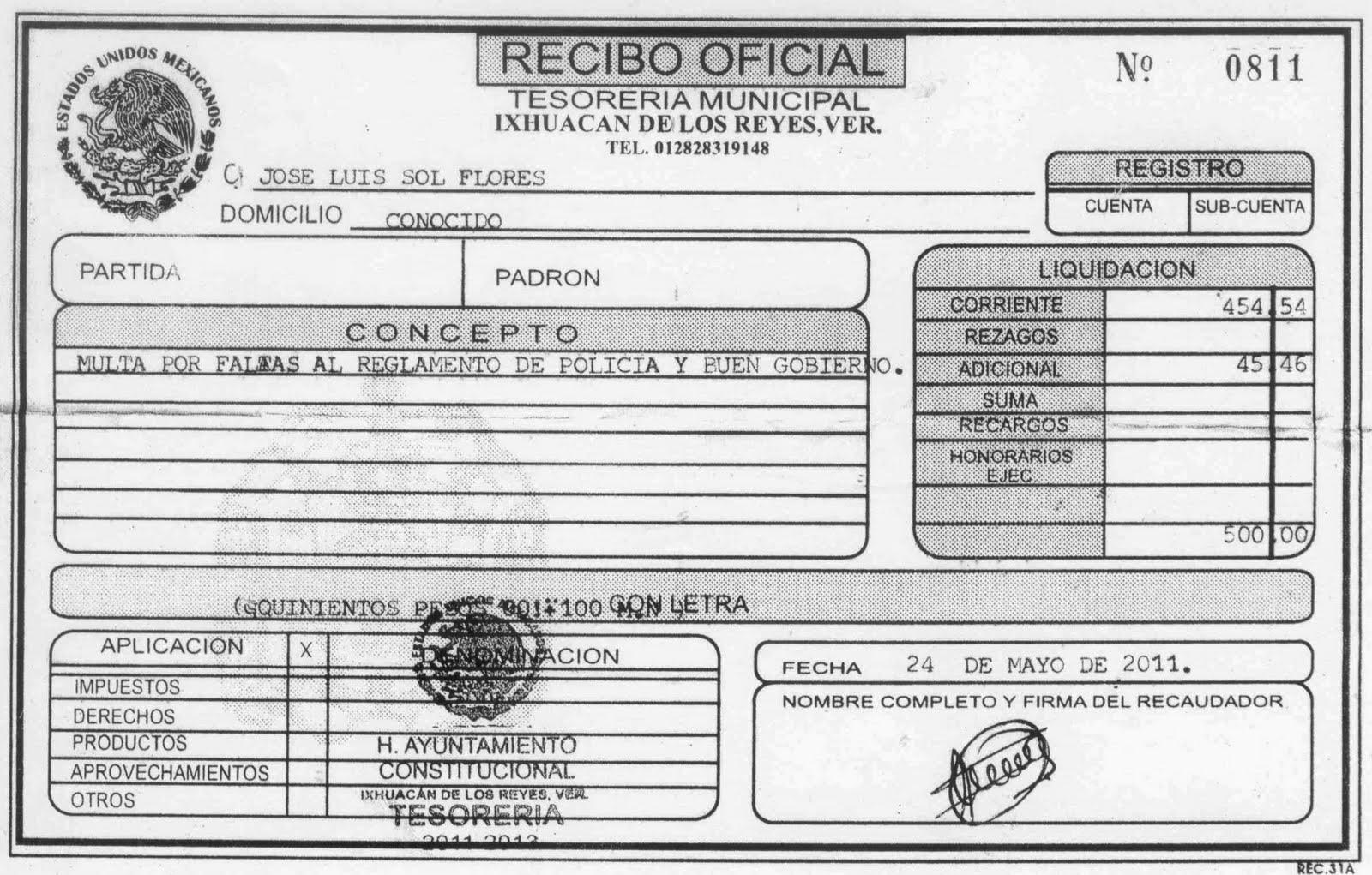 reglamento de policia y buen gobierno por un monto de $ 500 00 recibo