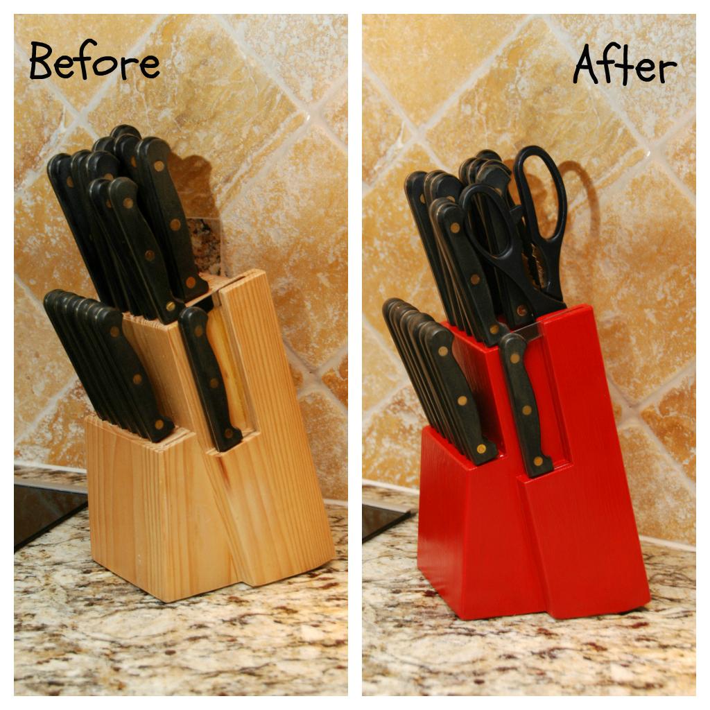 Painted Knife Block: One Creative Housewife: Knife Block Redo