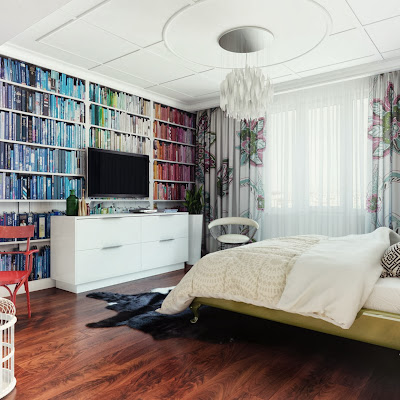 book that is coordinated according to its book cover's color inside the elegant design bedroom