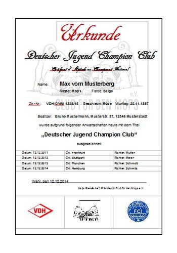 Urkunde Deutscher Jugend Champion Club - Club für den Mops CfdM