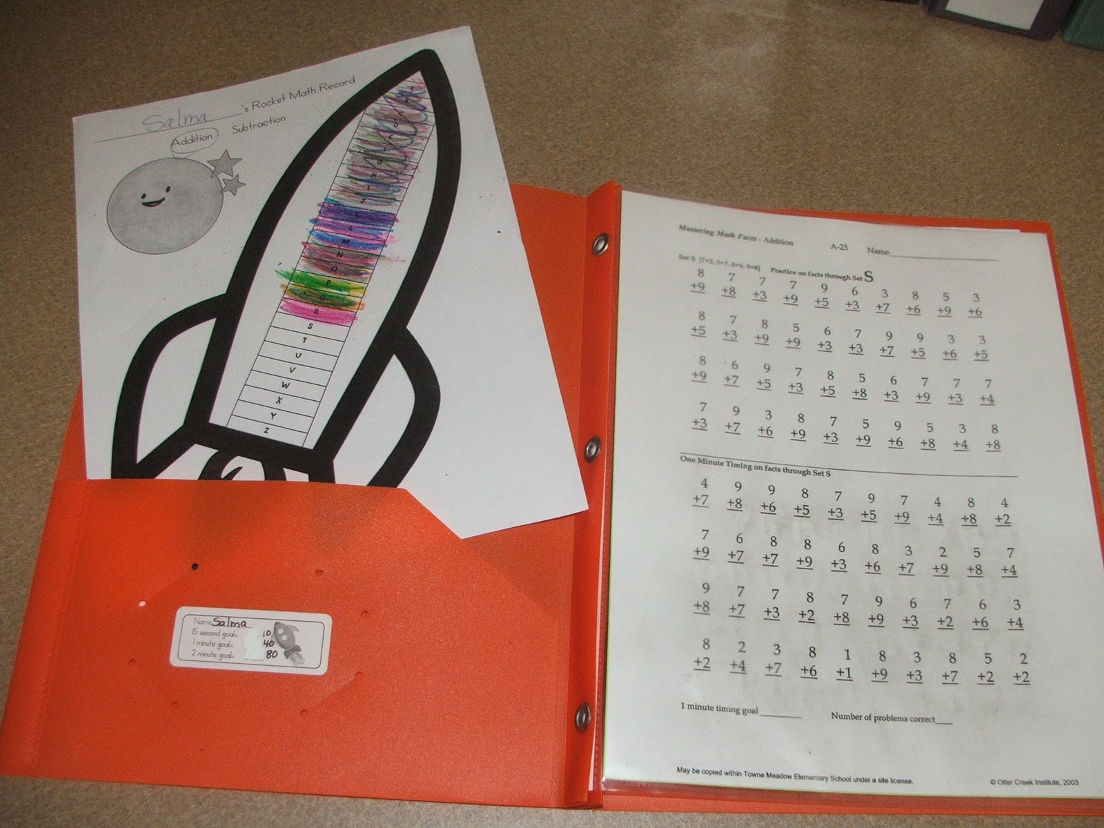 math worksheet : rockin  teacher materials rocket math rocks! : Rocket Math Worksheets Addition