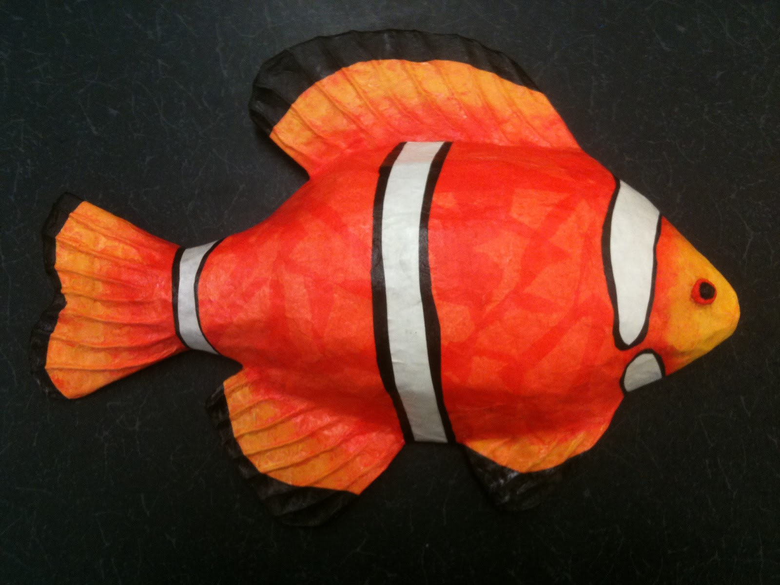 paintings by melissa papier mache fish