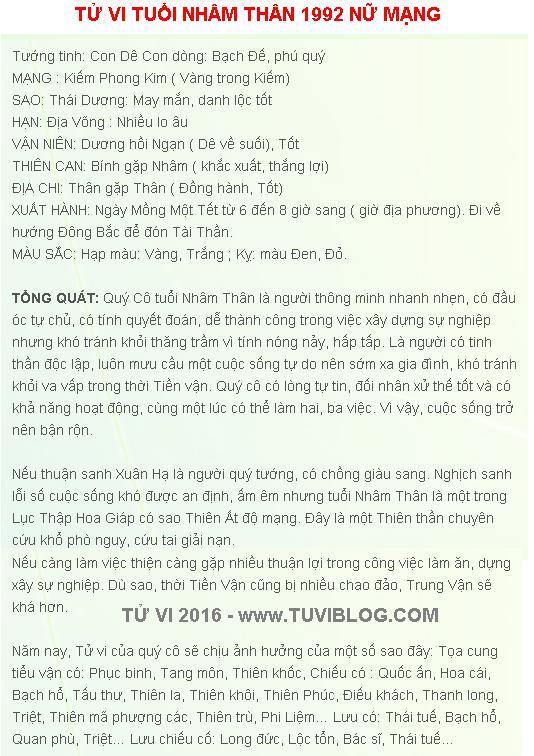 Tu Vi Tuoi Nham Than 1992 Nu Mang
