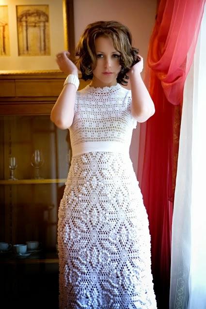 Vestido de Gala Blanco a Crochet