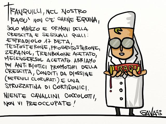 gavavenezia gava satira vignette caricature illustrazioni fumetti marco gavagnin www.gavavenezia.it cavallo manzo carne ragù denuncia
