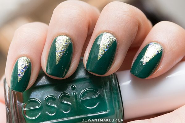 Simple glitter nail art with Essie On A Silver Platter + Essie Going Incognito