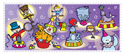 Circus characters on a purple background.