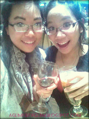 enjoying a drink with my sister