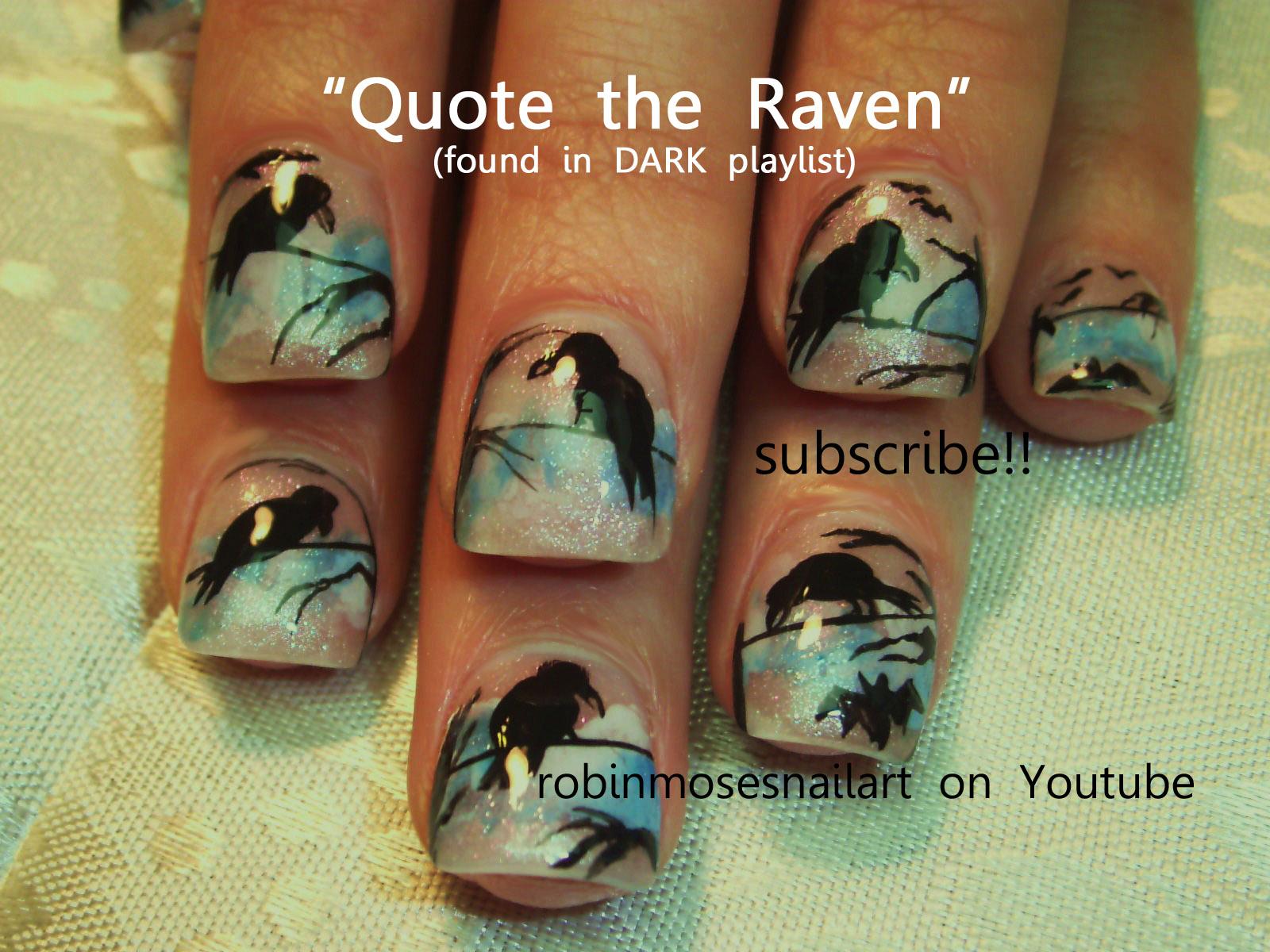 raven nail art, black bird nail art, bat nails, halloween nail art ...