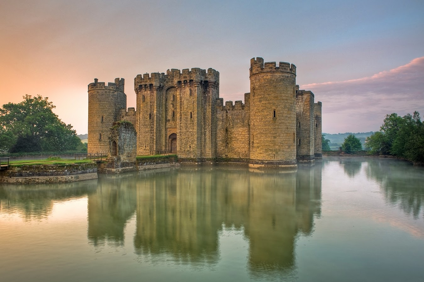 Bodiam Castle, a 14th-century castle near Robertsbridge in East Sussex, England