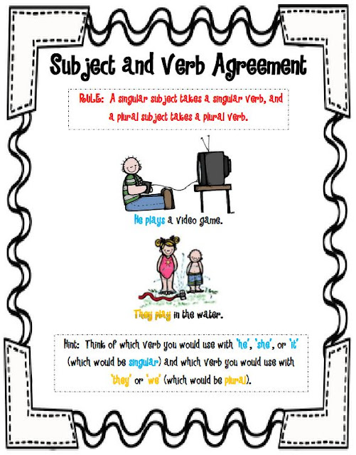 Subject Verb Agreement Anchor Chart Carnavalsmusic