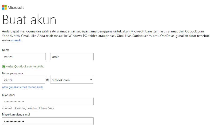 Cara daftar email akun Microsoft