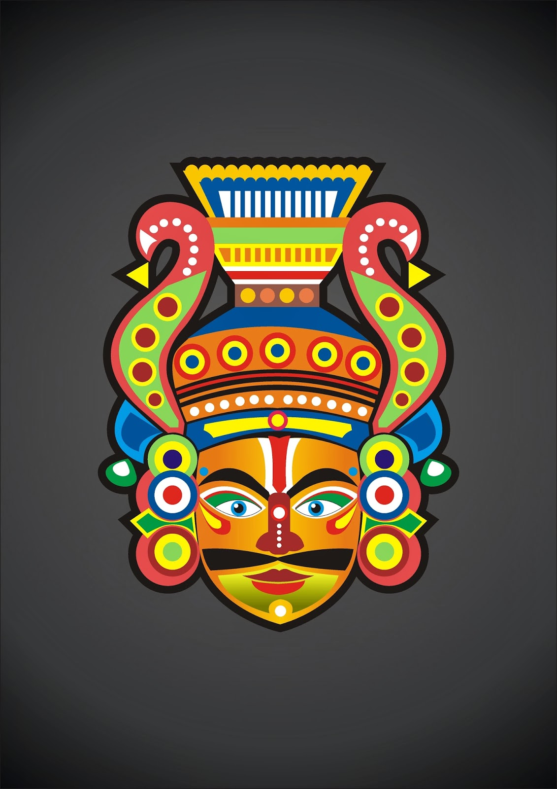 Yakshagana Mask Vector Created In Coreldraw Design