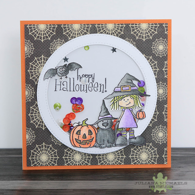 Happy Halloween Shaker Box Card by Juliana Michaels featuring SRM Stickers Jane's Doodles Stamps, Pretty Pink Posh Sequins, MFT Stamps Dies and Jillibean Soup Paper