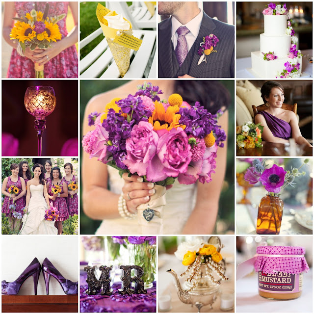pink purple yellow wedding