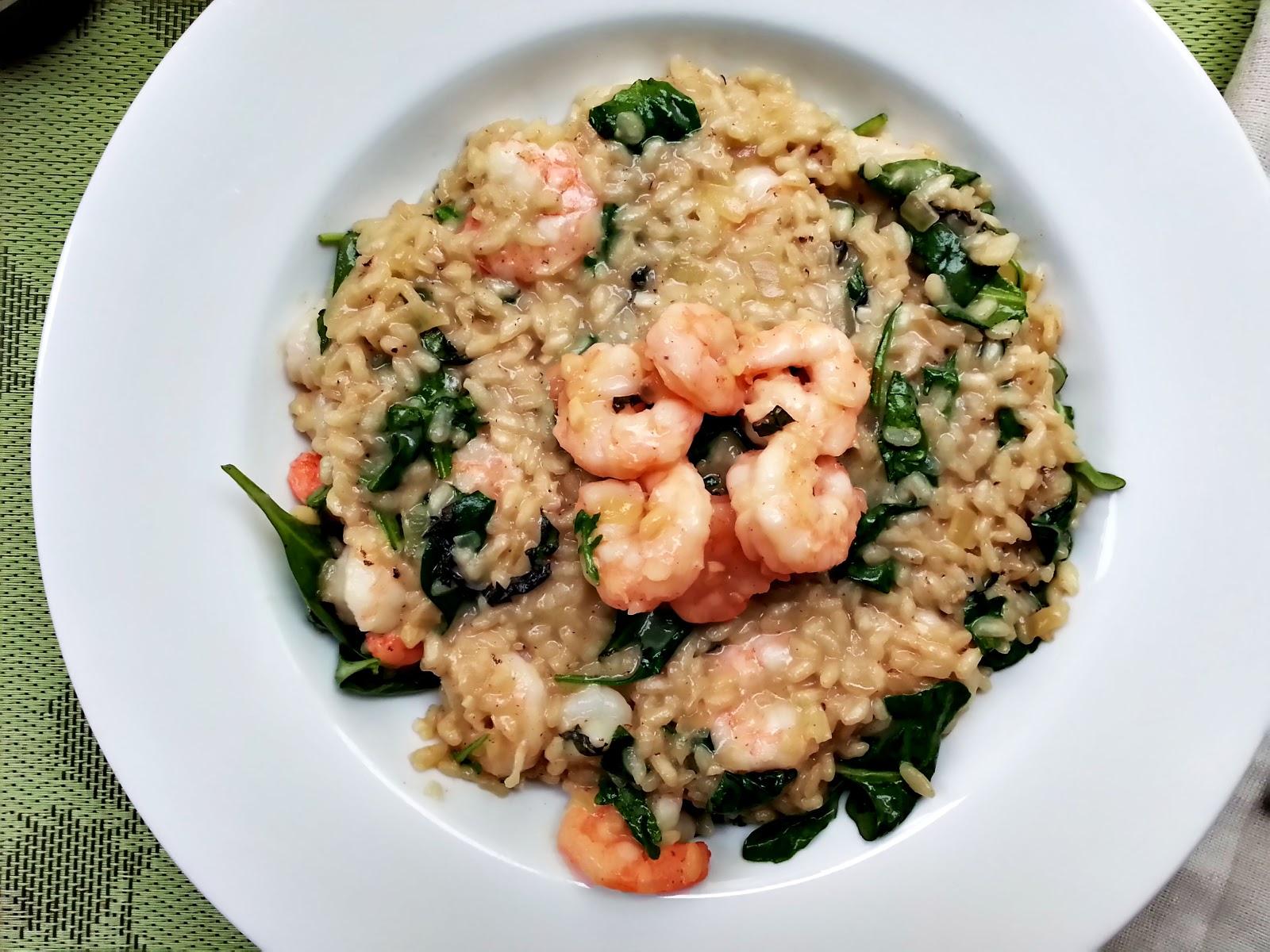 Pan seared shrimp and arugula risotto - Cherry on my Sundae