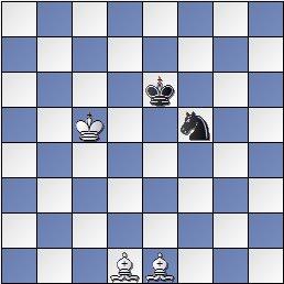 Final dos alfiles contra caballo, posición después de 13… Re6