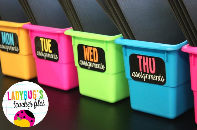 Organizing Files for the Week - Ladybug's Teacher Files