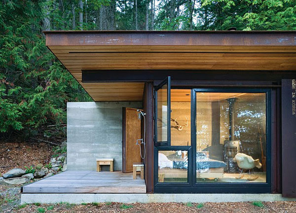Small one room house located in the woods modern house for One room home designs