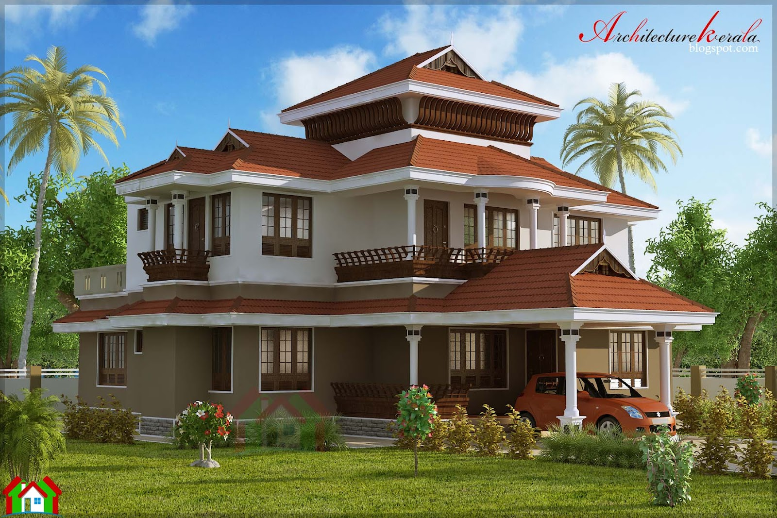 4 bed room traditional style house architecture kerala