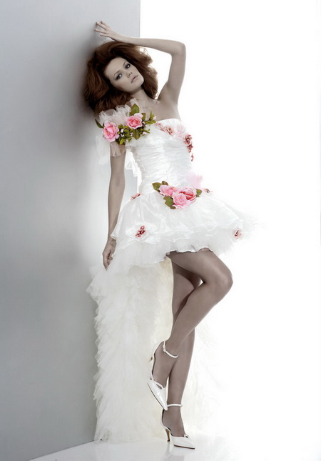 one shoulder white high-low short wedding dress with ruffles