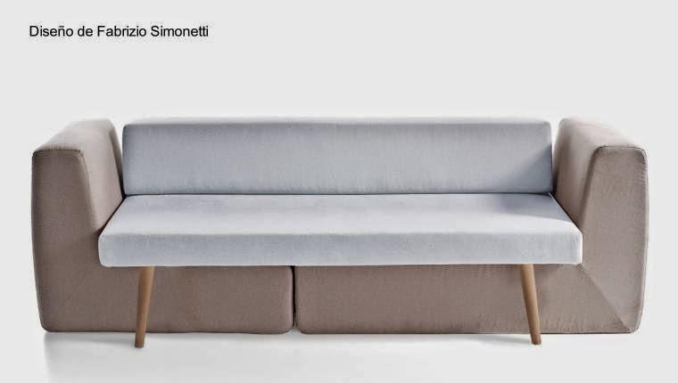 Sofá modular de tres partes a dos colores