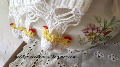 Eclectic Red Barn:Tea towel with crocheted chickens