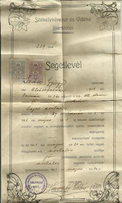 Székelykeresztúr és vidéke Ipartestület Segédlevél Szász György.