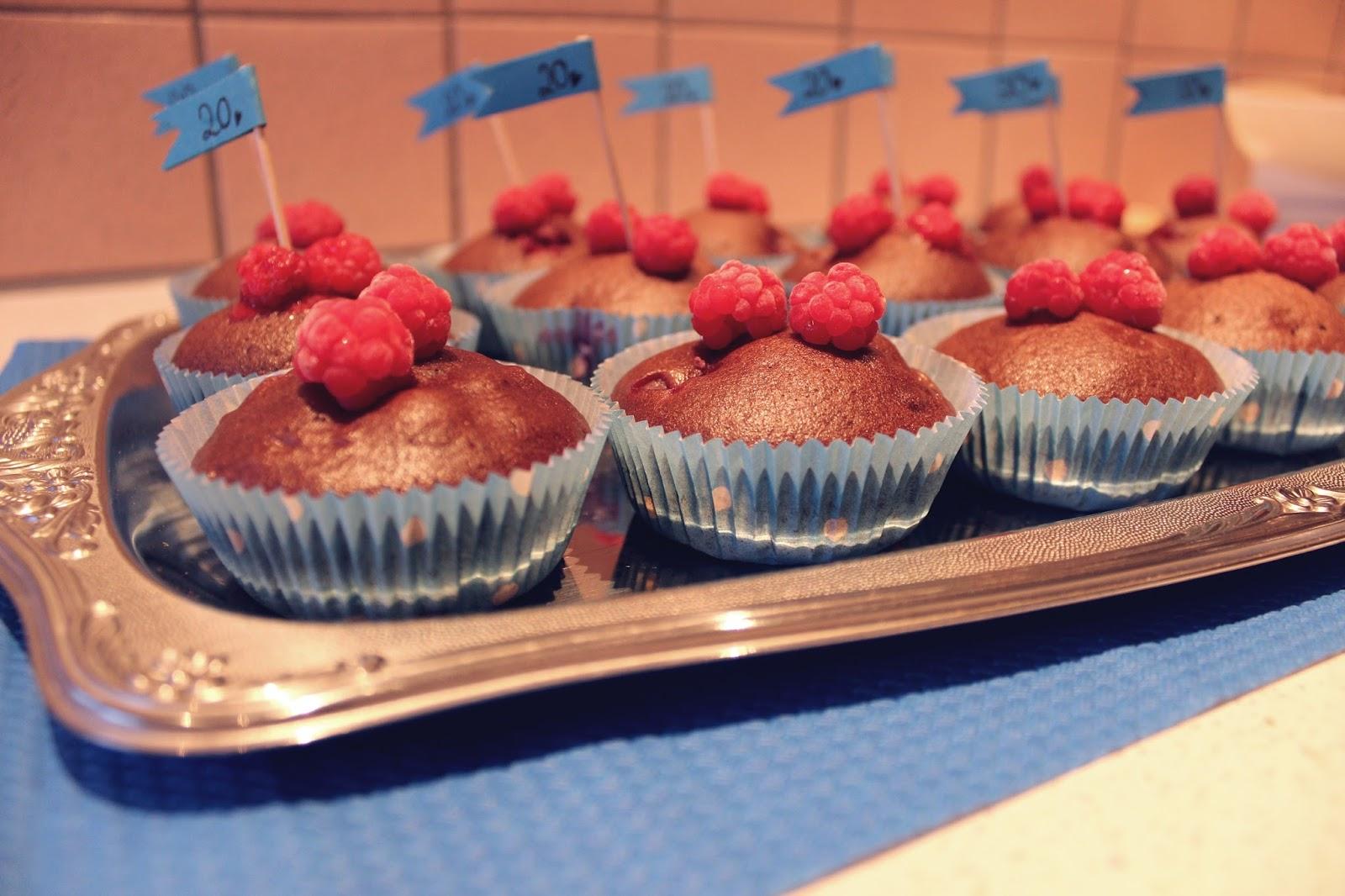 Muffins Cupcakes vegan Himbeer Schoko Schokolade Food Rezept