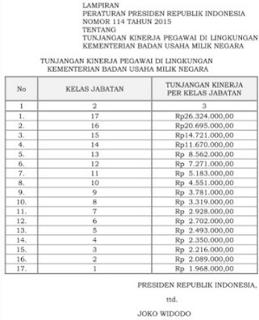 Tunjangan Kinerja Remunerasi Pegawai Kementrian BUMN 2015