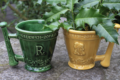 McCoy Schering Mortar and Pestle Cups and Holly, Ilex aquifolium