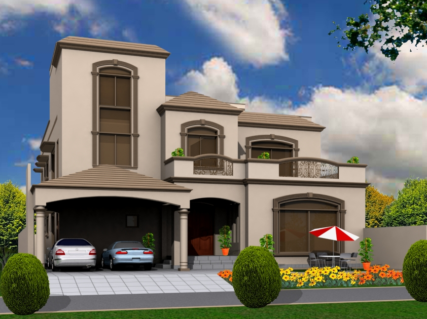 3d Front 10 Marla House Front Elevations