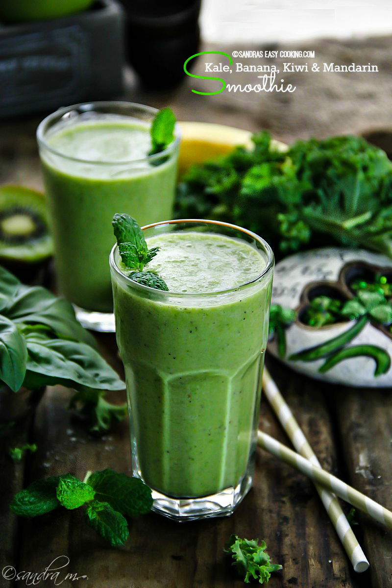 Shamrock Smoothie: Kale, Banana, Kiwi and Mandarin Smoothie - SANDRA'S ...