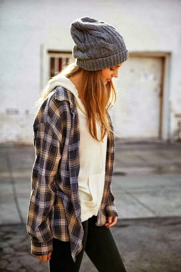 Cute plaided shirt with white hoodiee, beanie and black leggings
