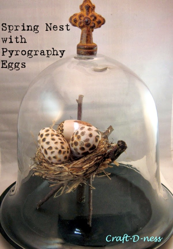 Cloche with Pyrography Eggs in Raffia Nest