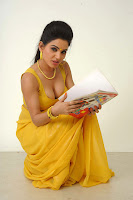 Hot Actress Kavya Singh hot photo Yellow saree from teacher Movie