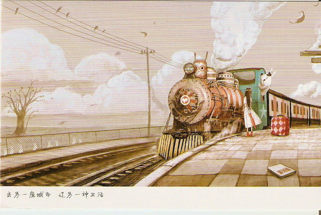 A girl waits for a train conducted by a rabbit. Postcard from Taiwan.