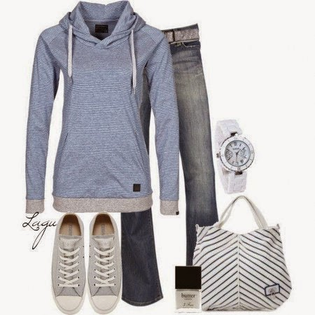 Blue Sweater, Dark Blue Jeans, Light Grey Sport Shoes, White Watch, Light Grey-Black Striped Hand Bag And White Nail Polish.