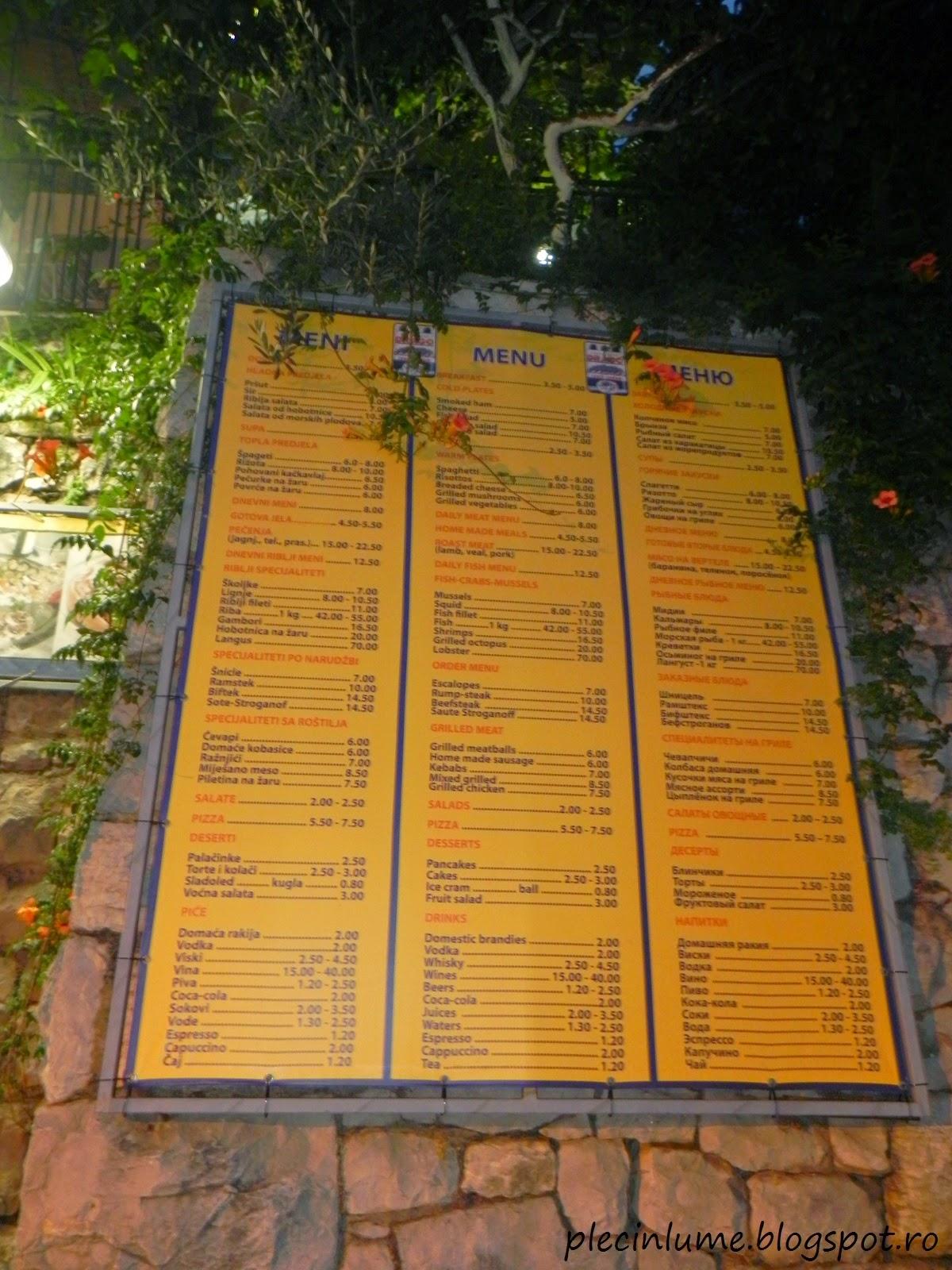 Meniul restaurantului Dragoo din Sveti Stefan