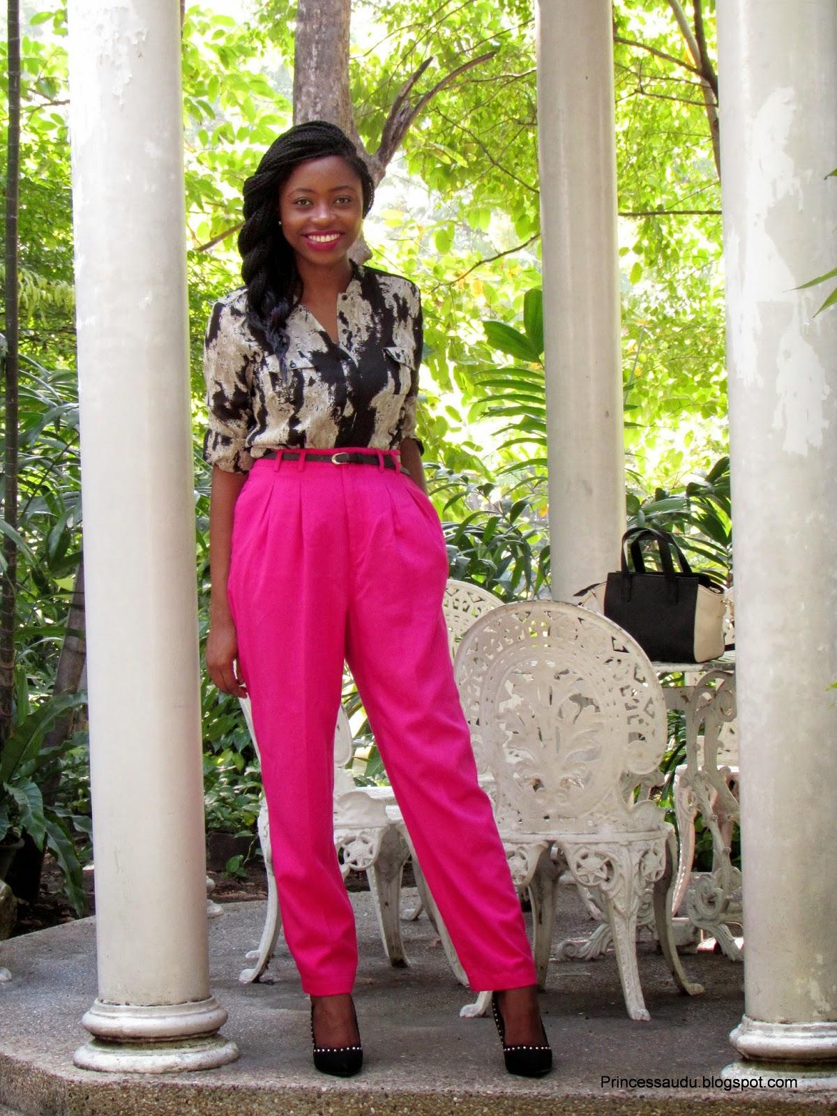 snake print, pink vintage trouser, thrift